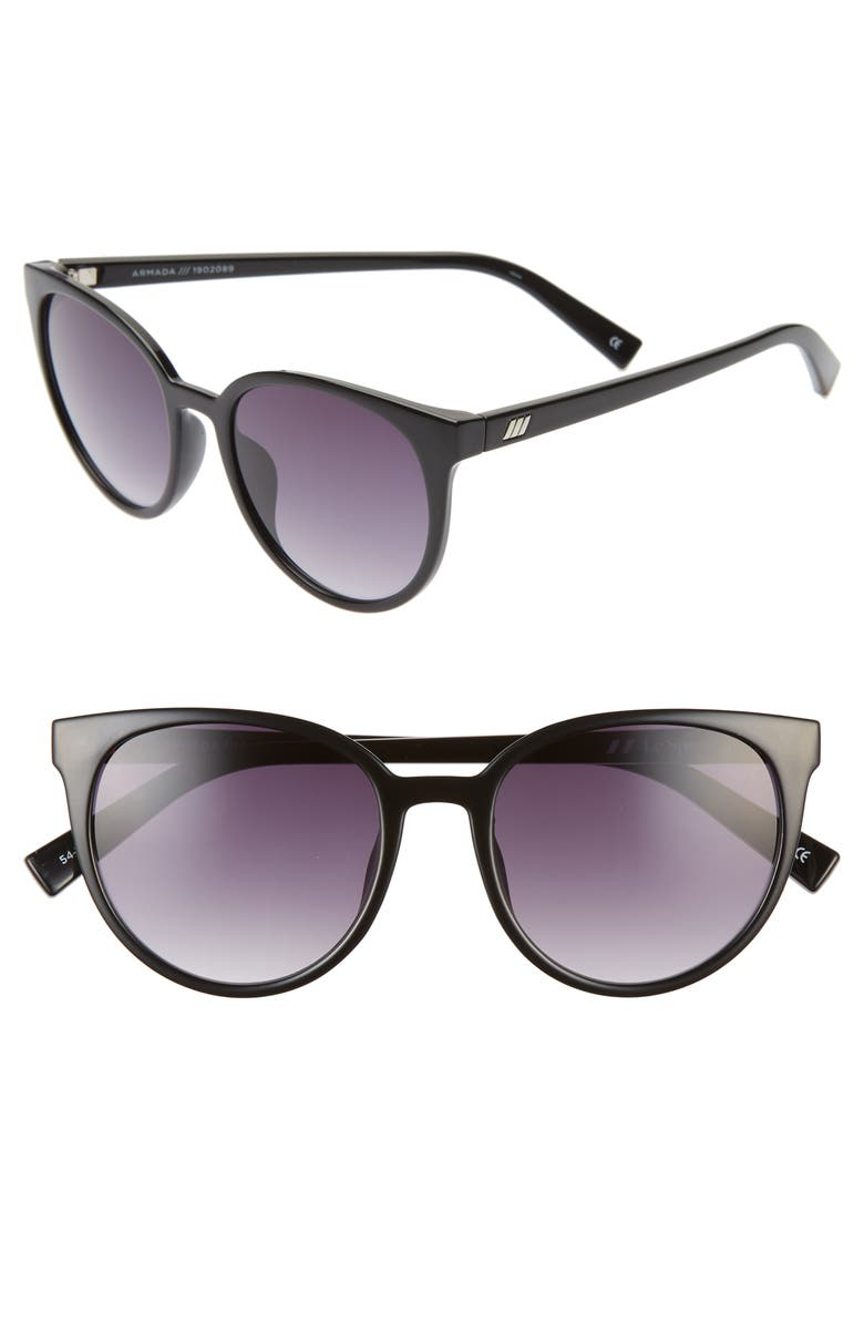 LE SPECS Armada 54mm Cat Eye Sunglasses, Main, color, BLACK/ SMOKE GRADIENT