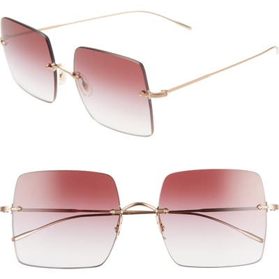 Oliver Peoples Oishe 57Mm Gradient Rimless Square Sunglasses - Rose Gold/ Magenta Gradient