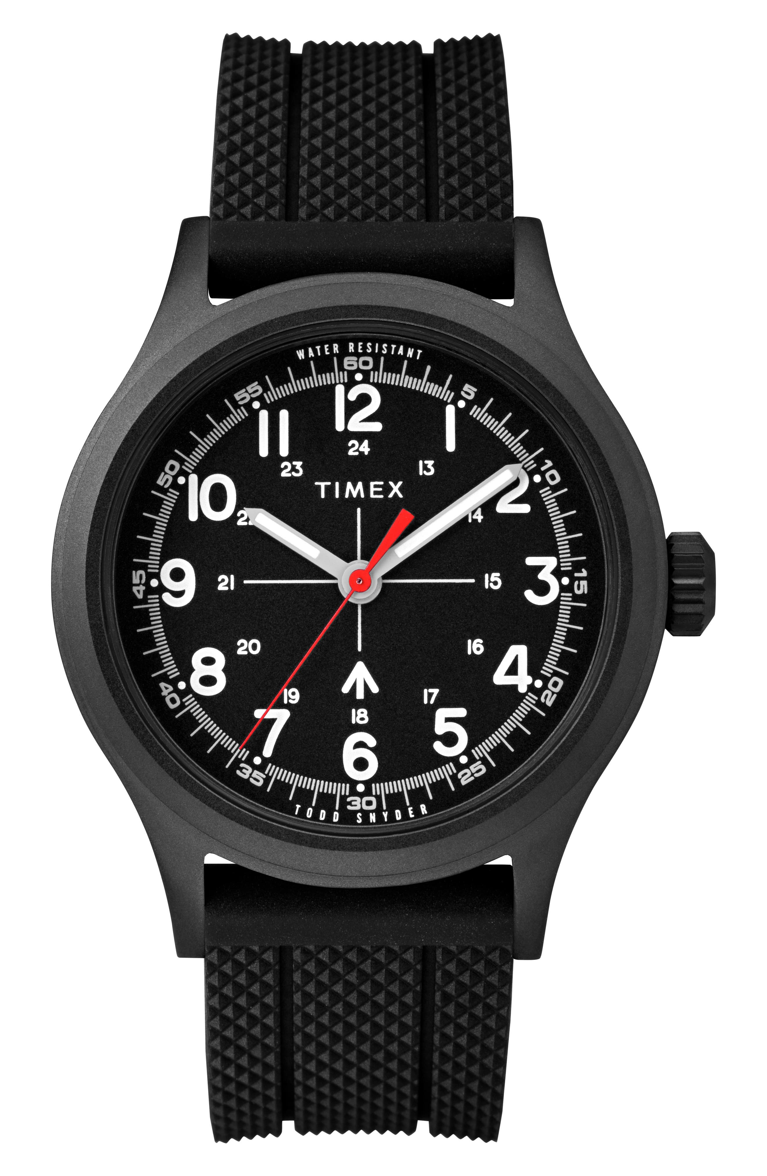 ,                             The Military Silicone Strap Watch, 40mm,                             Main thumbnail 1, color,                             BLACK / BLACK
