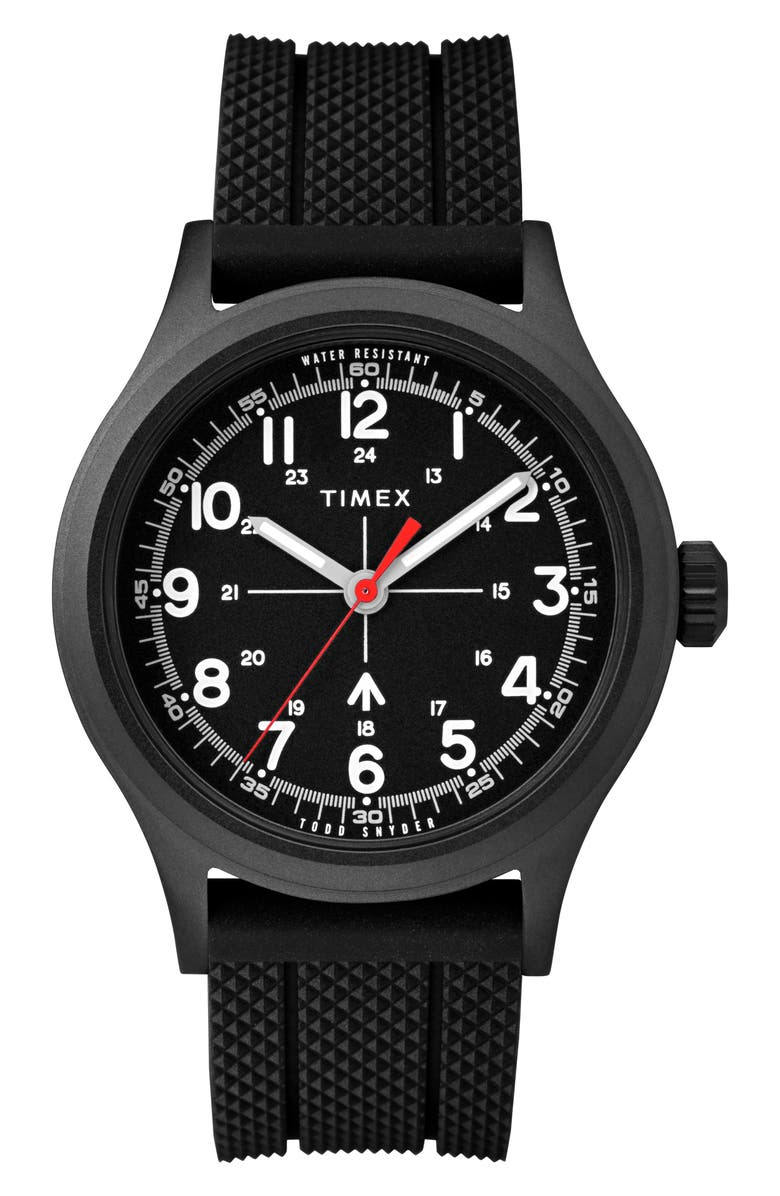 TIMEX<SUP>®</SUP> x Todd Snyder The Military Silicone Strap Watch, 40mm, Main, color, BLACK / BLACK