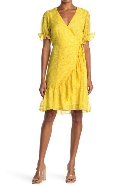 Image of MELLODAY Floral Ruffle Swiss Dot Wrap Dress