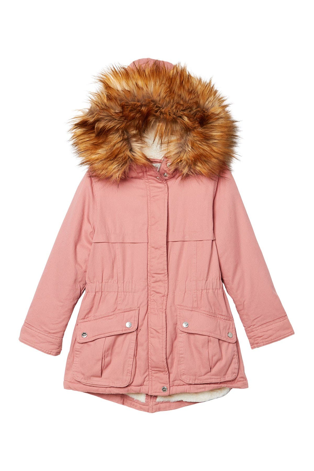 Large Urban Republic Boys Twill Faux Sherpa Lined Hooded Jacket
