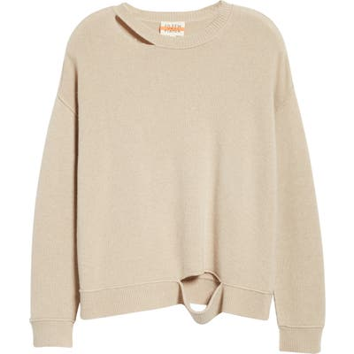 Eileen Fisher Distressed Recycled Cashmere Blend Sweater, Beige (Unisex) (Nordstrom Exclusive)