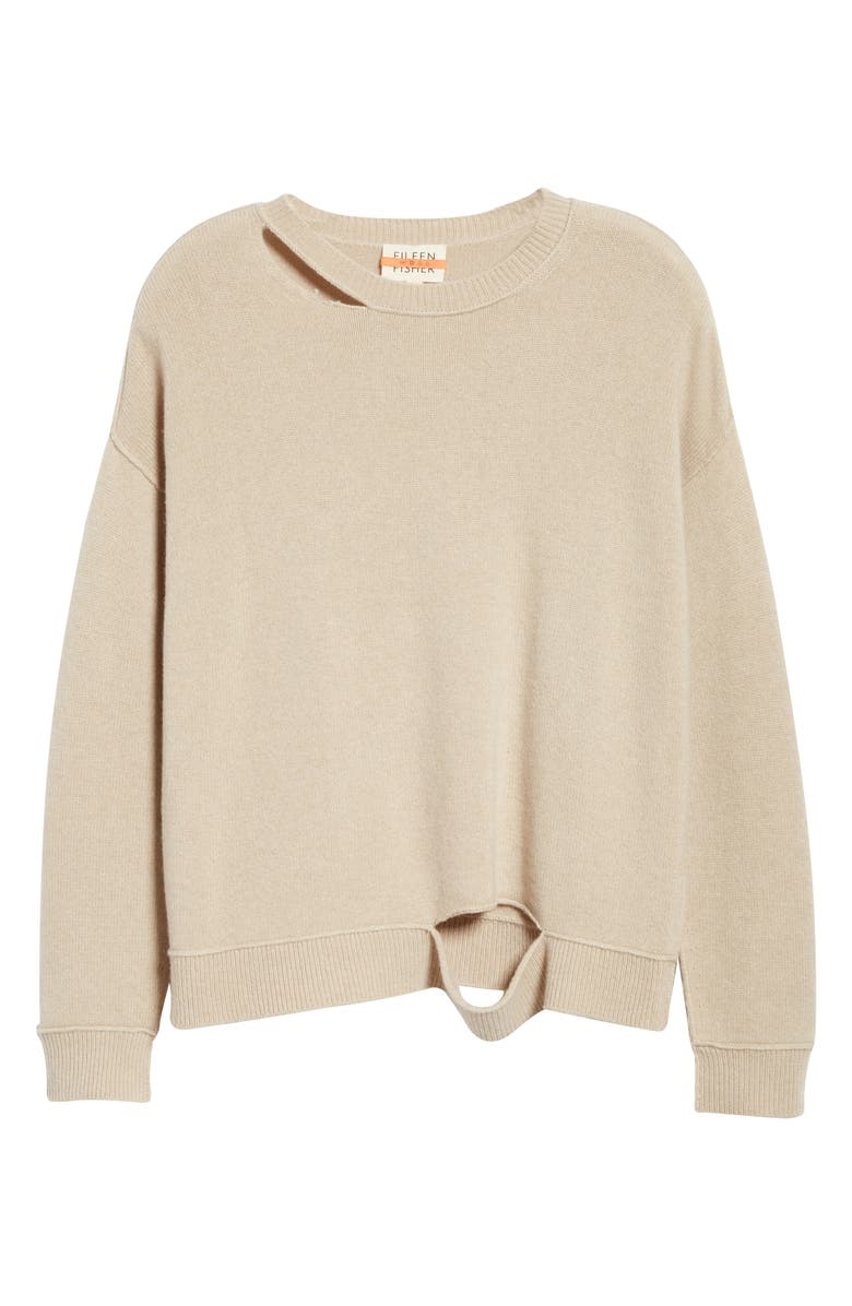 EILEEN FISHER Distressed Recycled Cashmere Blend Sweater, Main, color, MAPLE OAT