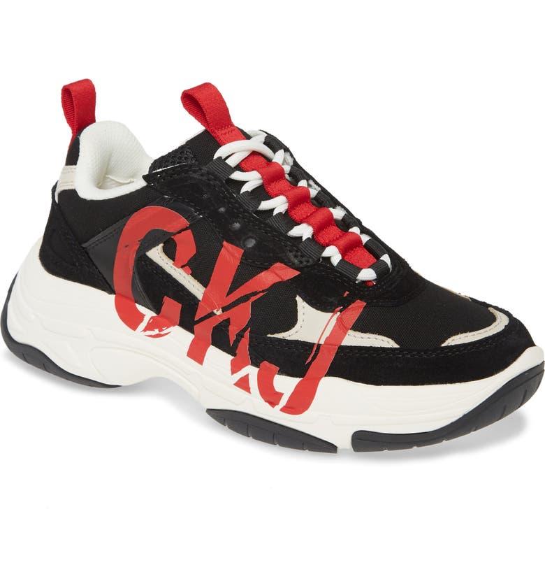 CALVIN KLEIN JEANS Marleen Sneaker, Main, color, BLACK/ STONE SUEDE