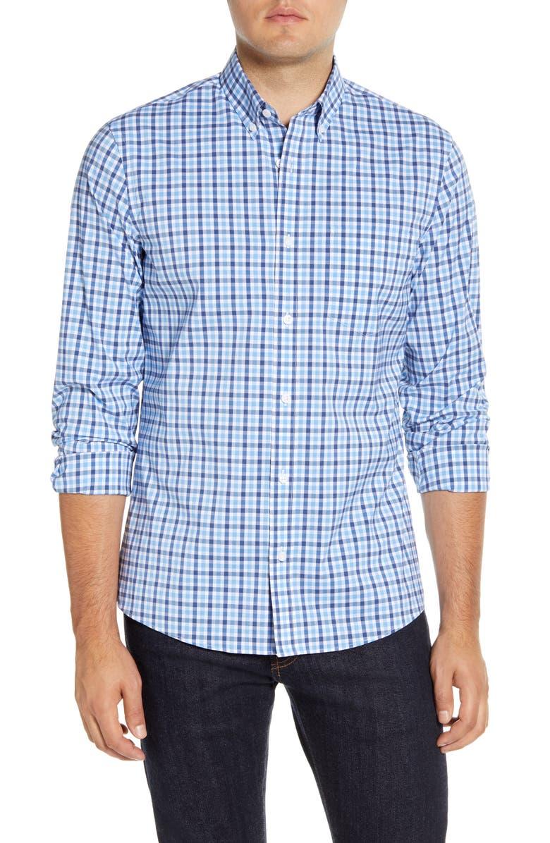 NORDSTROM MEN'S SHOP Tech-Smart Trim Fit Check Button-Down Sport Shirt, Main, color, BLUE RAIN CHECK