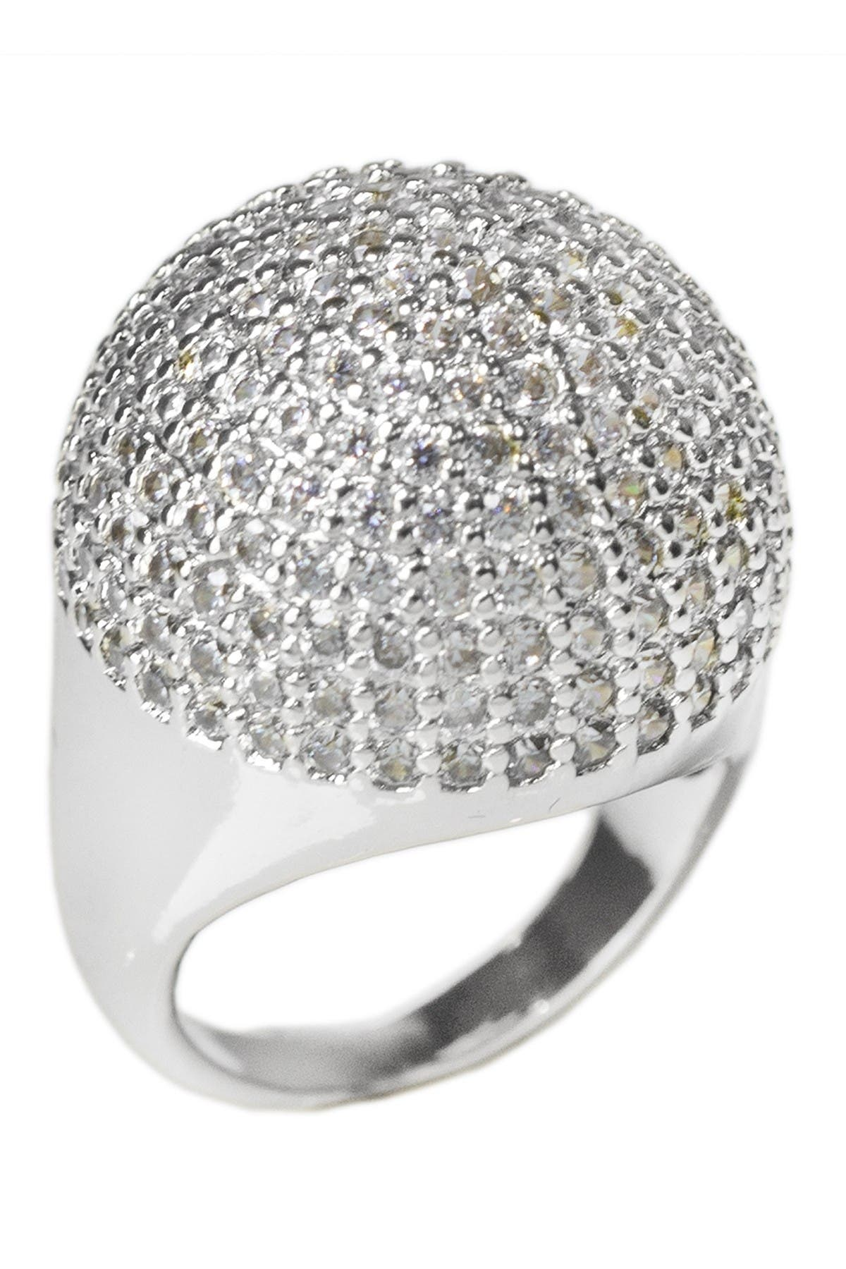 Image of CZ By Kenneth Jay Lane Rhodium Plated Pave CZ Dome Ring