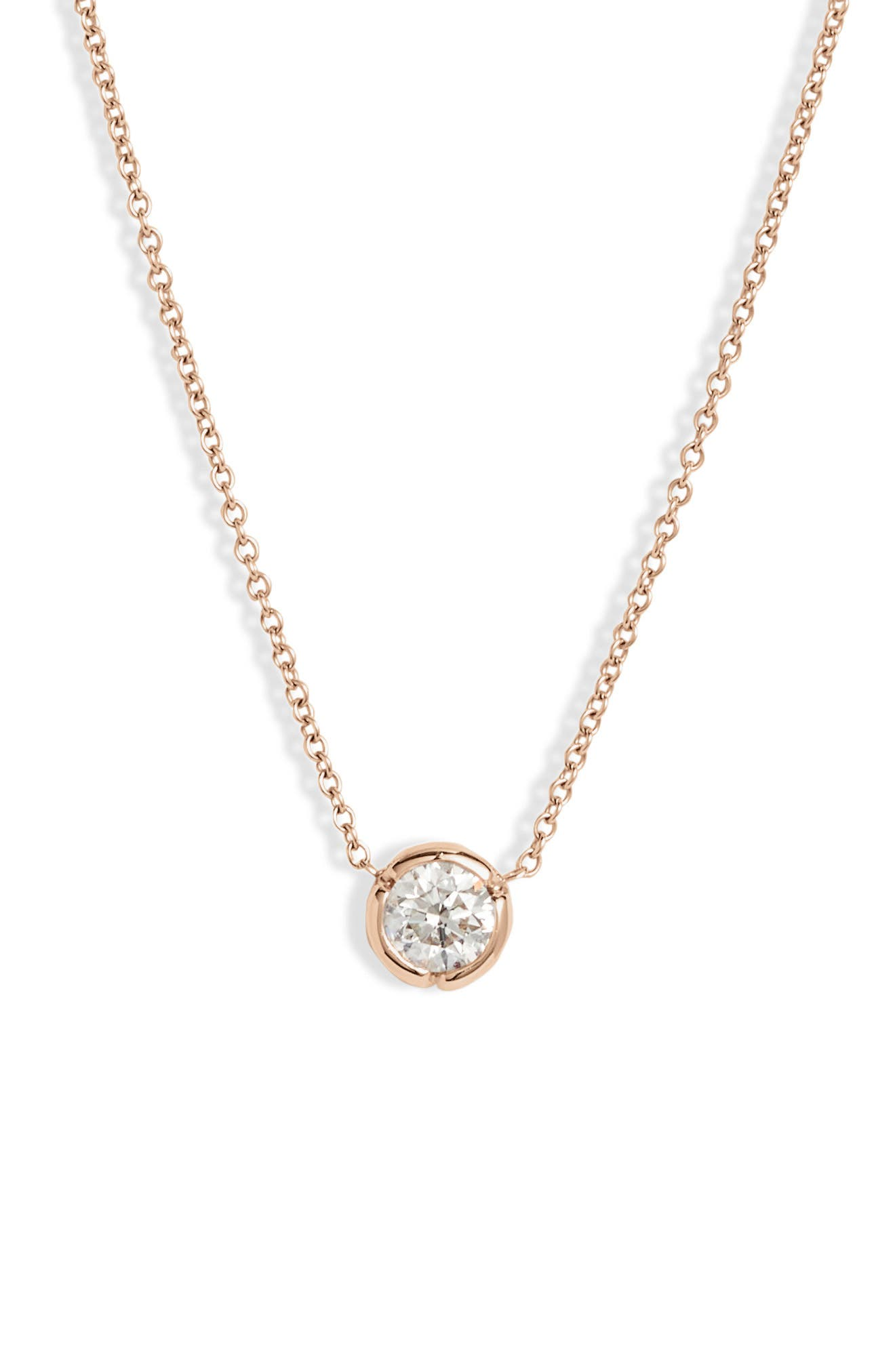 A notched bezel setting refreshes this lovely solitaire necklace that retains its timeless appeal with a fiery round diamond and dainty 18-karat-gold chain. Style Name: Bony Levy Large Bezel Diamond Solitaire Necklace (Nordstrom Exclusive). Style Number: 5895517. Available in stores.
