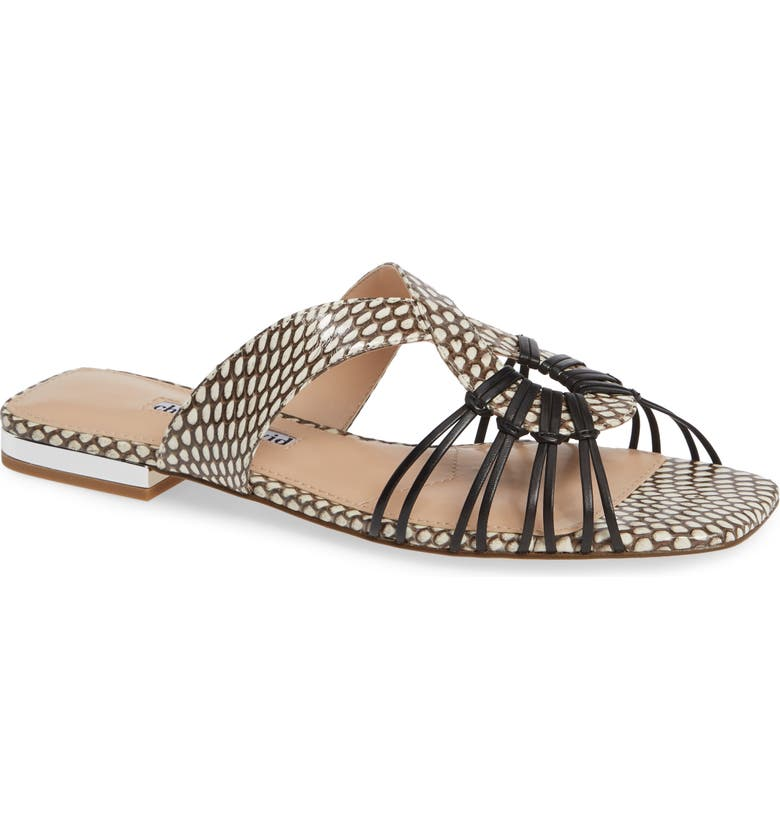 CHARLES DAVID Silvy Sandal, Main, color, BLACK/WHITE SNAKE LEATHER