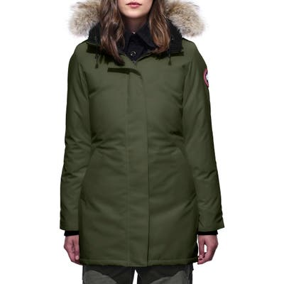 Canada Goose Victoria Fusion Fit Down Parka With Genuine Coyote Fur Trim, (6-8) - Green