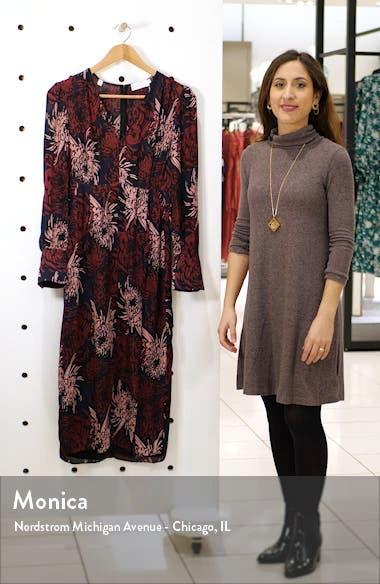 Bailey Floral Long Sleeve Silk Midi Dress, sales video thumbnail