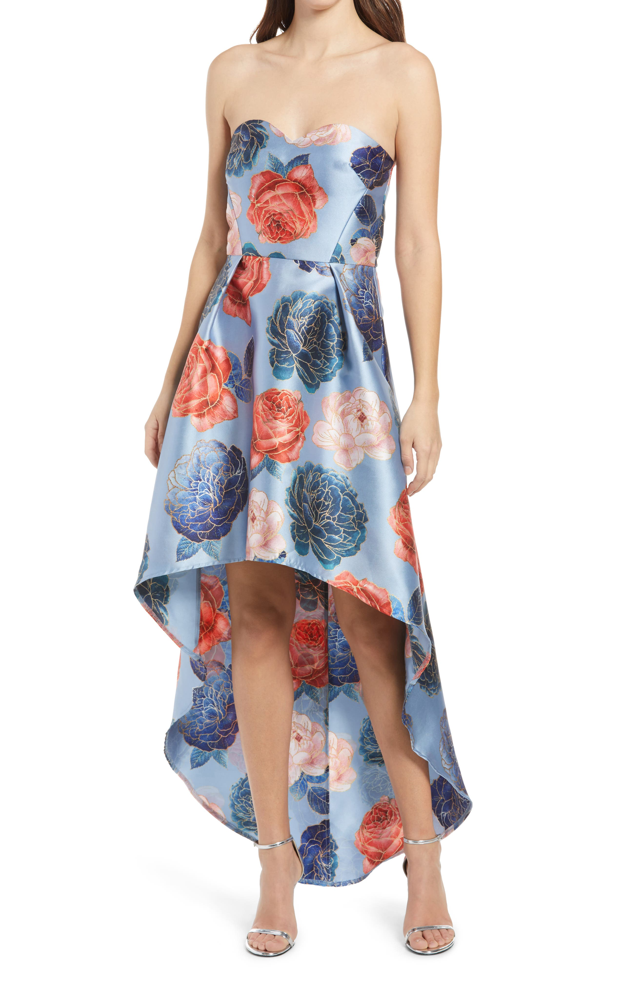 Elmaya Floral Strapless High/low Gown