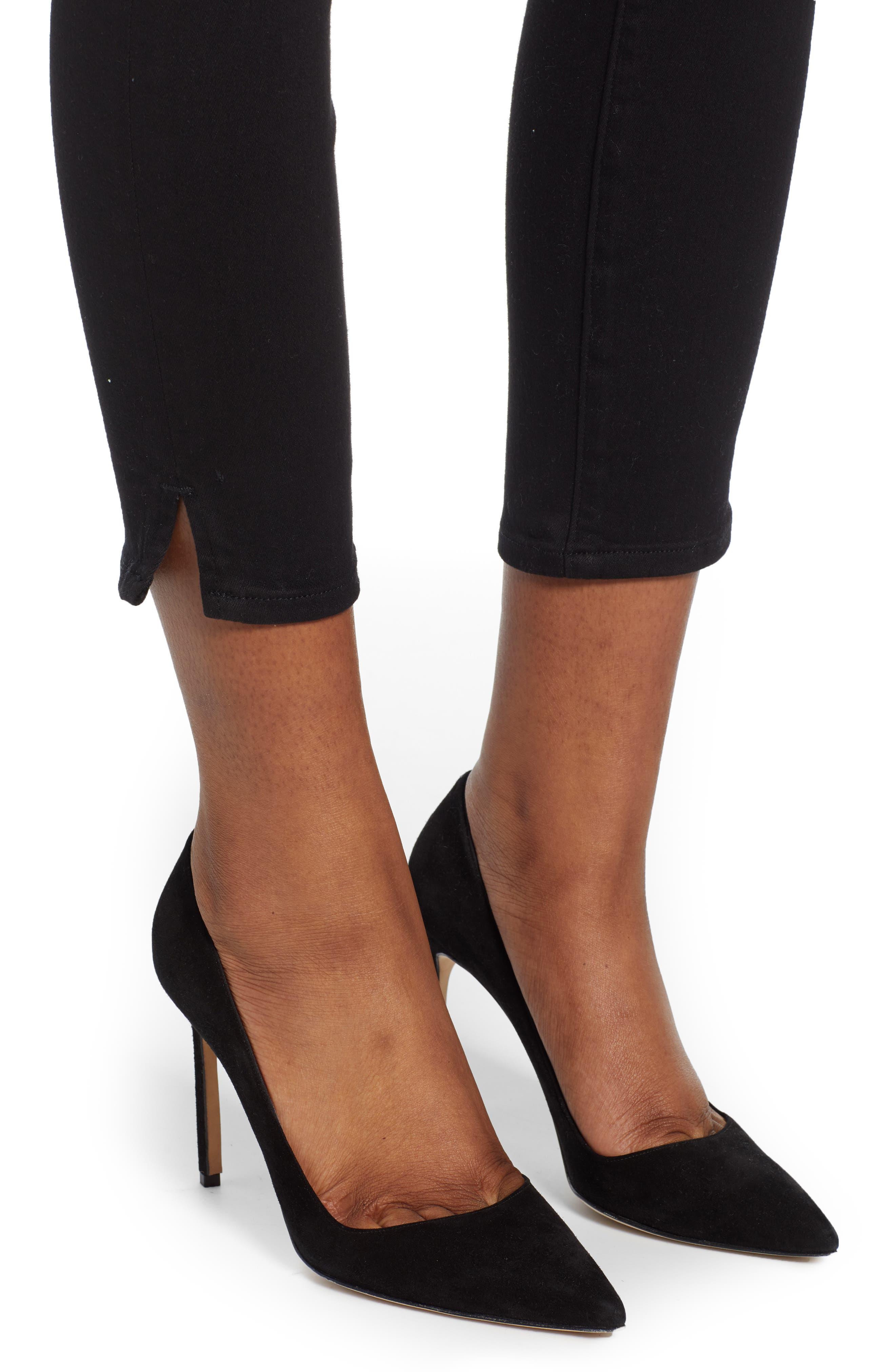 ,                             Good Legs Split Hem Ankle Skinny Jeans,                             Alternate thumbnail 7, color,                             BLACK001