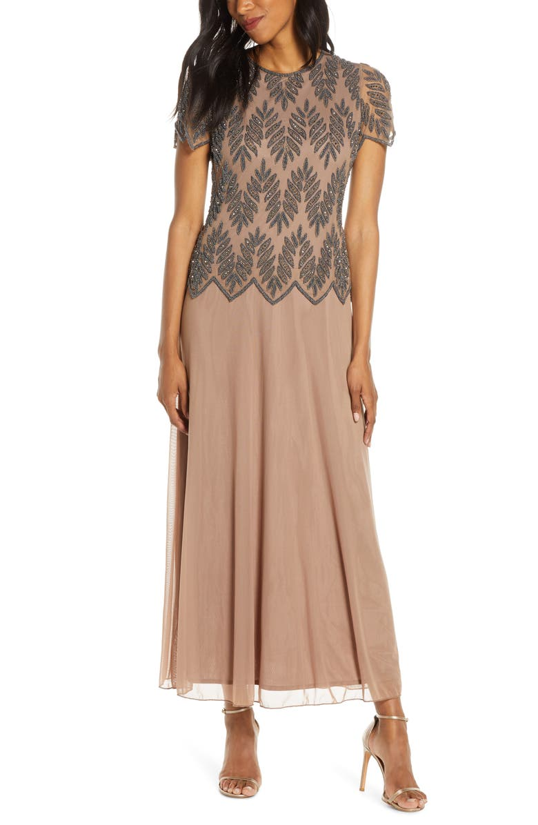 PISARRO NIGHTS Beaded Mock Two-Piece Maxi Gown, Main, color, MOCHA