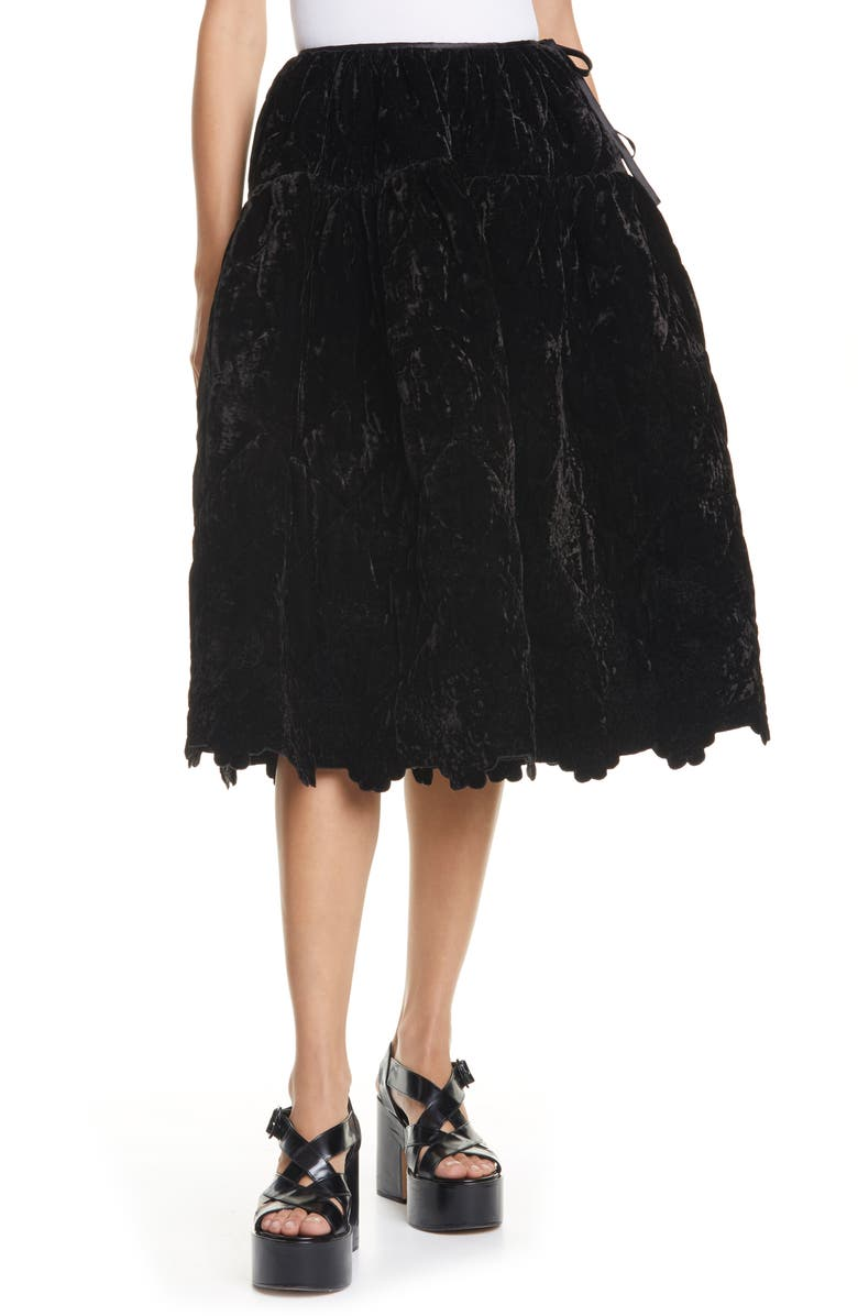CECILIE BAHNSEN Rose Voluminous Panel Skirt, Main, color, BLACK