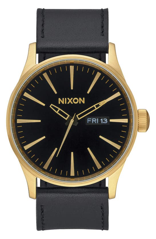 Nixon The Sentry Leather Strap Watch, 42mm In Black/ Black/ Gold