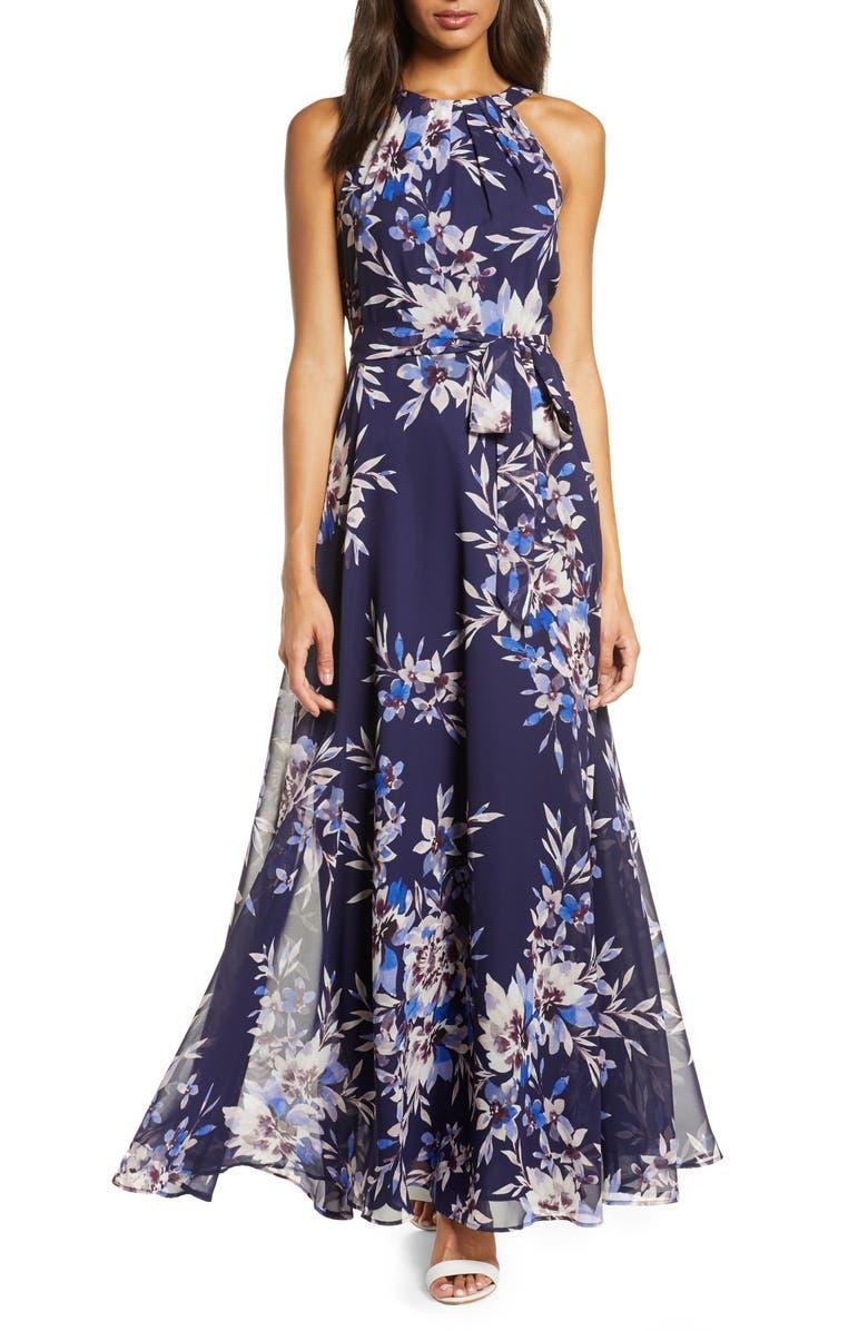 ELIZA J Floral Halter Maxi Dress, Main, color, 410