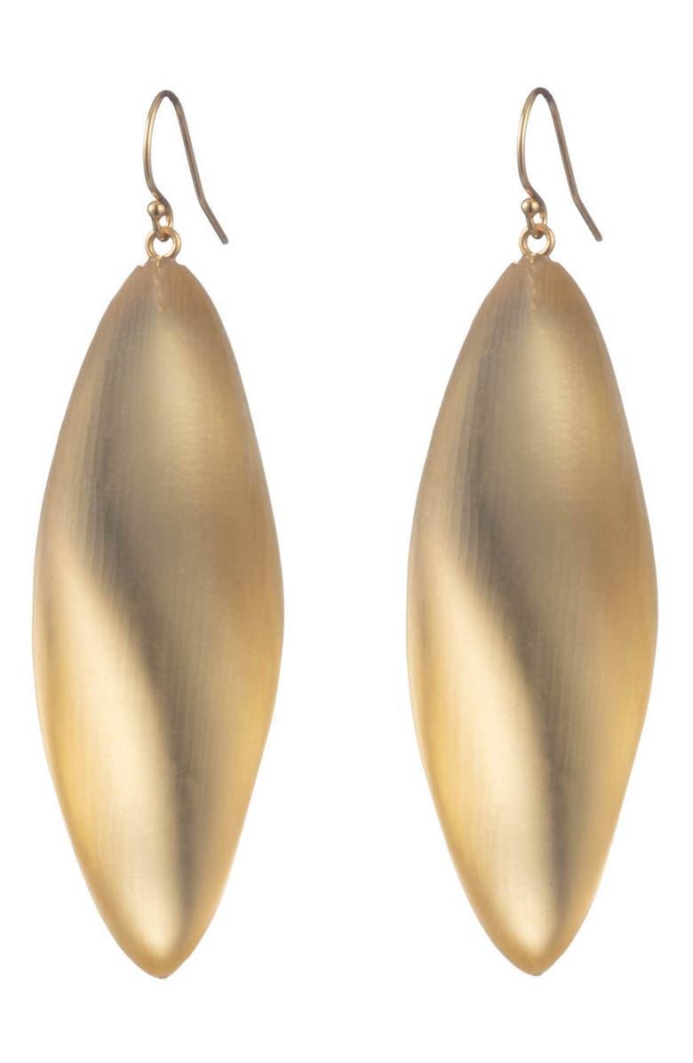 ALEXIS BITTAR Long Leaf Earrings, Main, color, GOLD