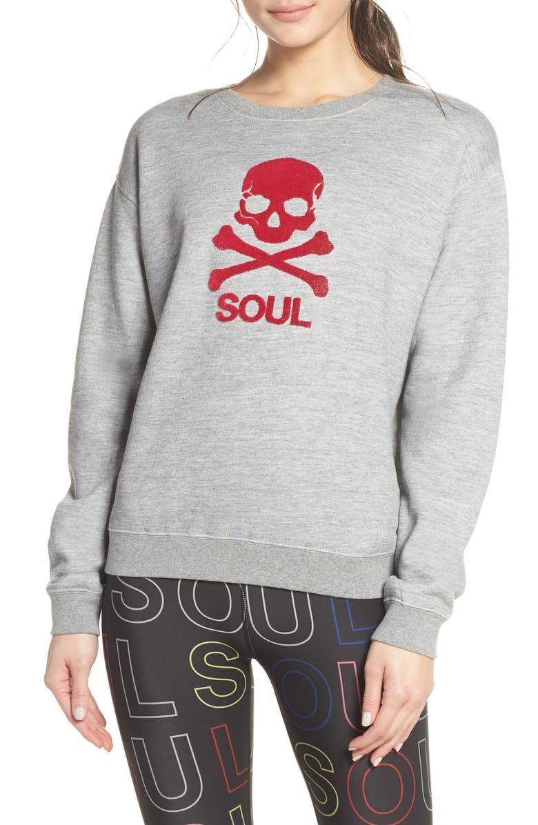 SOUL BY SOULCYCLE Skull Graphic Sweatshirt, Main, color, GREY