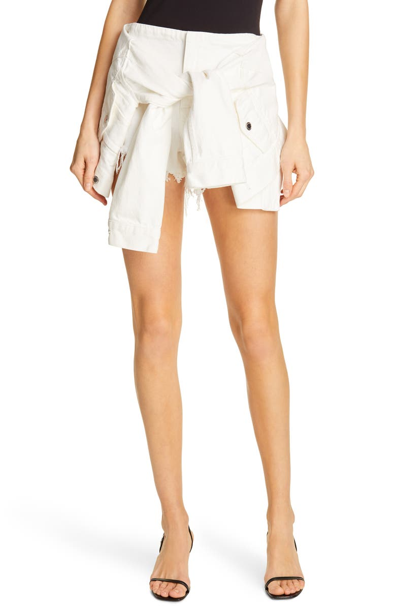 DENIM X ALEXANDER WANG Sleeve Tie Denim Skort, Main, color, CARPENTER WHITE