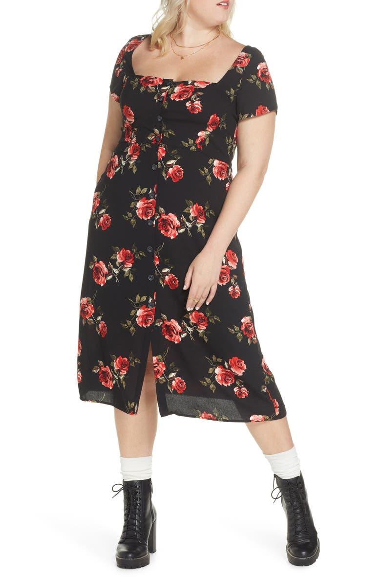 BP. x Claudia Sulewski Floral Print Button Front Midi Dress, Main, color, BLACK ROSE FLORAL