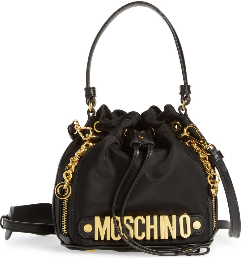 e4b92c2c4ca Moschino Letters Small Nylon Bucket Bag | Nordstrom