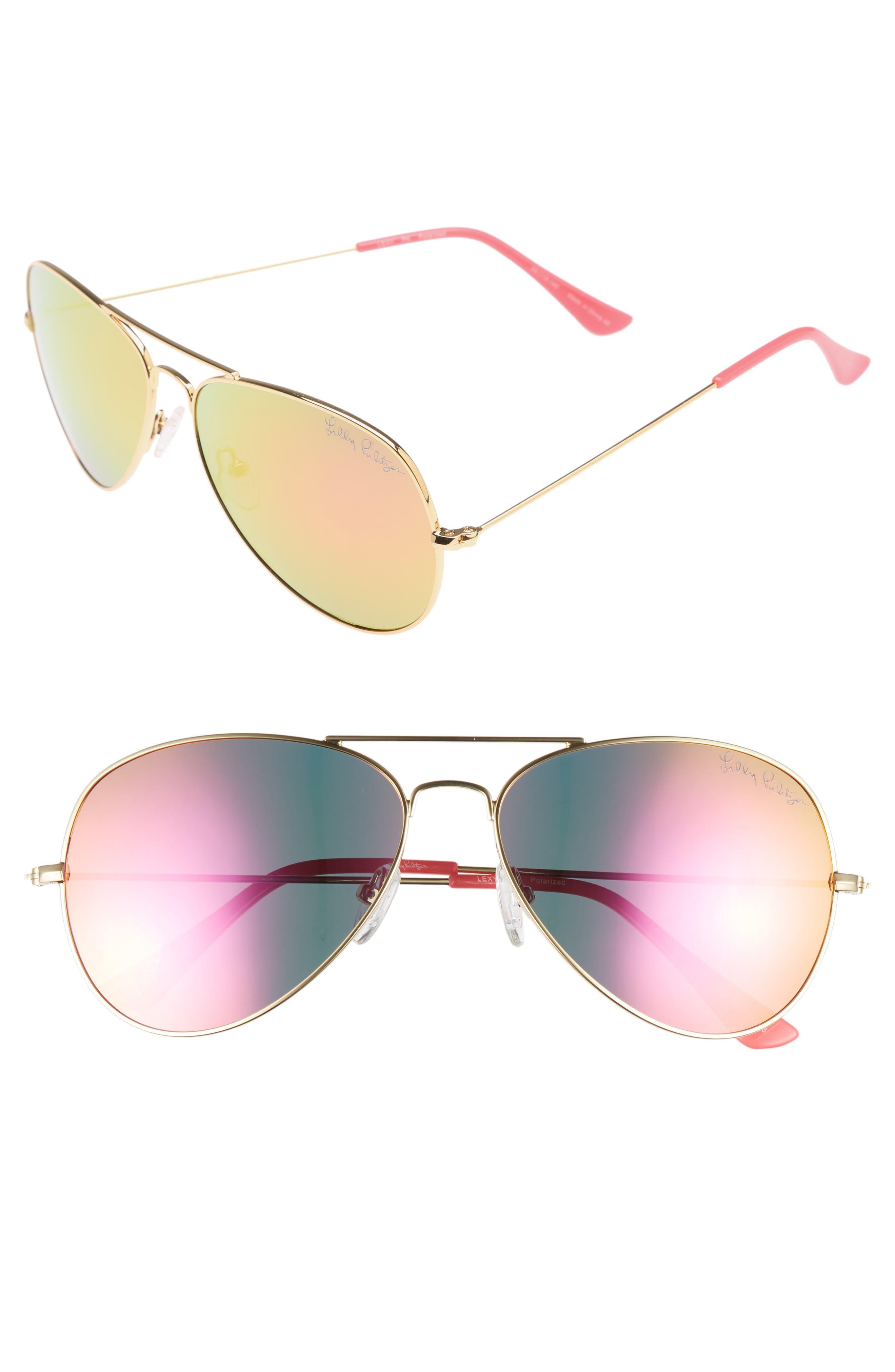 Lilly Pulitzer Lexy 5m Polarized Aviator Sunglasses - Hot Pink