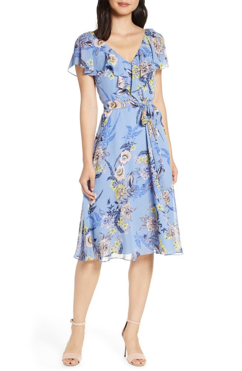 ELIZA J Floral Ruffle Chiffon Dress, Main, color, ICE BLUE
