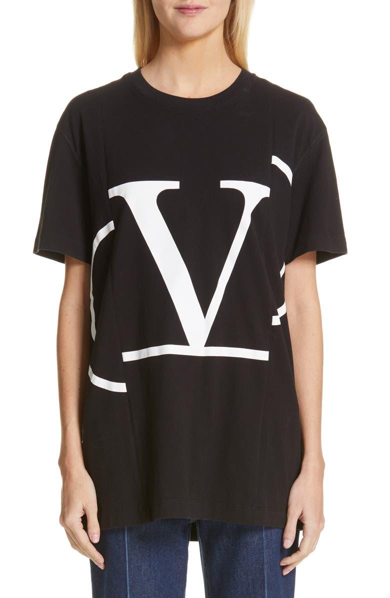 VALENTINO Reconstructed Logo Tee, Main, color, BIANCO/NERO