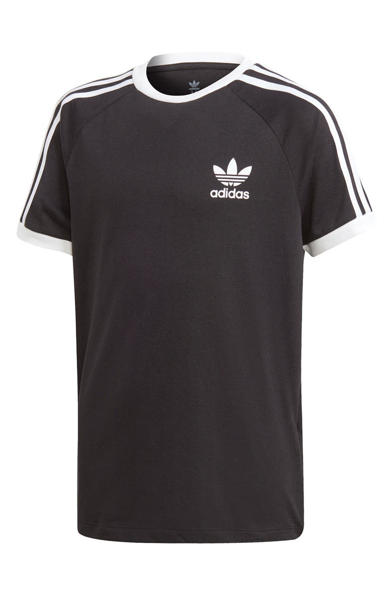 ADIDAS ORIGINALS 3-Stripes Tee, Main, color, BLACK/ WHITE