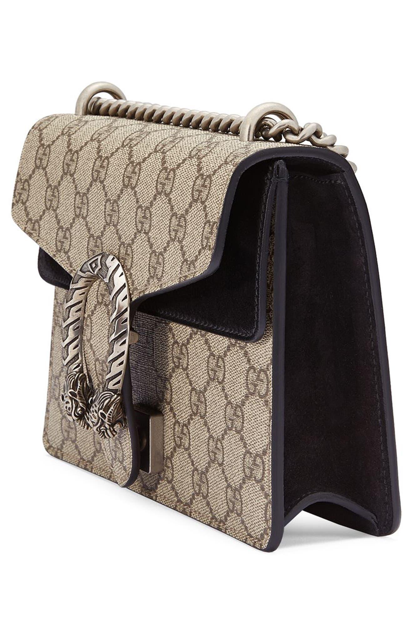 ,                             Mini Dionysus GG Supreme Shoulder Bag,                             Alternate thumbnail 5, color,                             BEIGE EBONY/ NERO