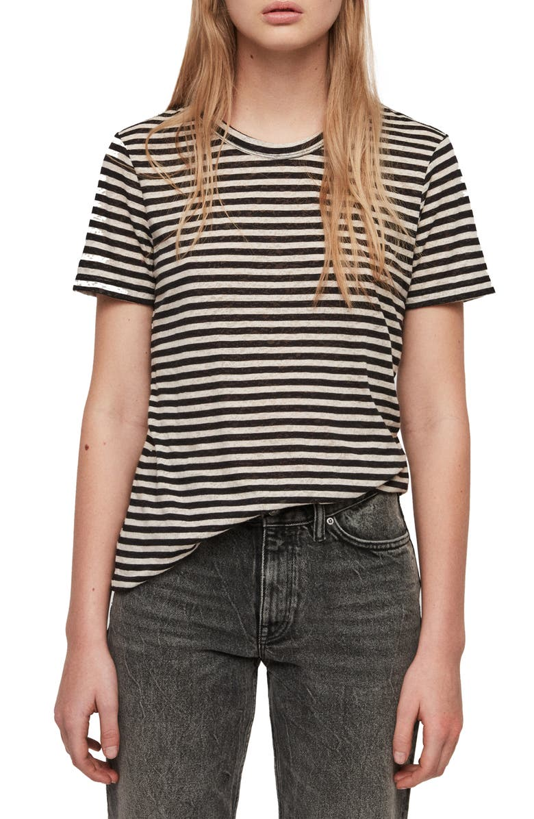 ALLSAINTS Feda Stripe Cotton Blend Tee, Main, color, 400