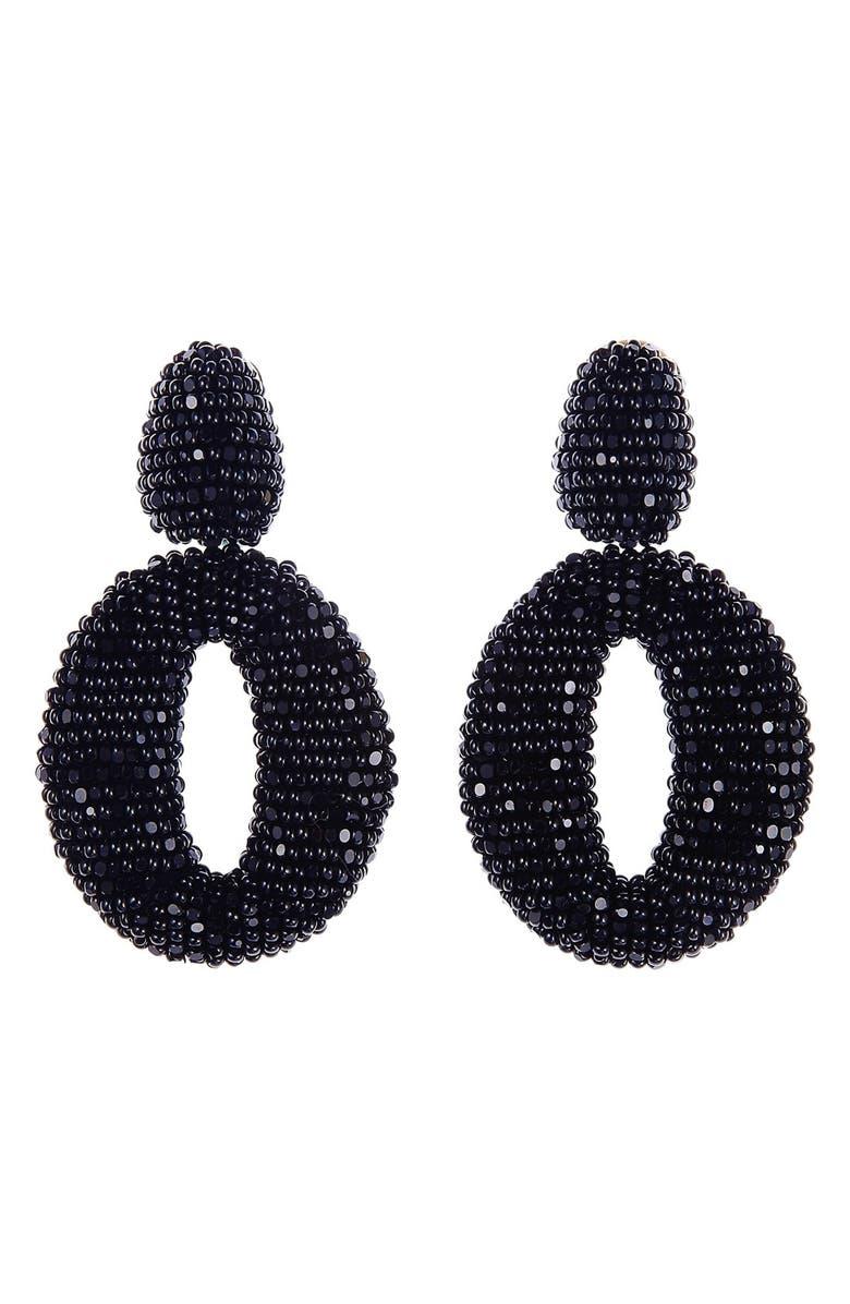 OSCAR DE LA RENTA Beaded Frontal Hoop Clip Earrings, Main, color, 001