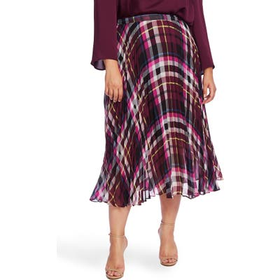 Plus Size Vince Camuto Plaid Pleated Midi Skirt, Burgundy
