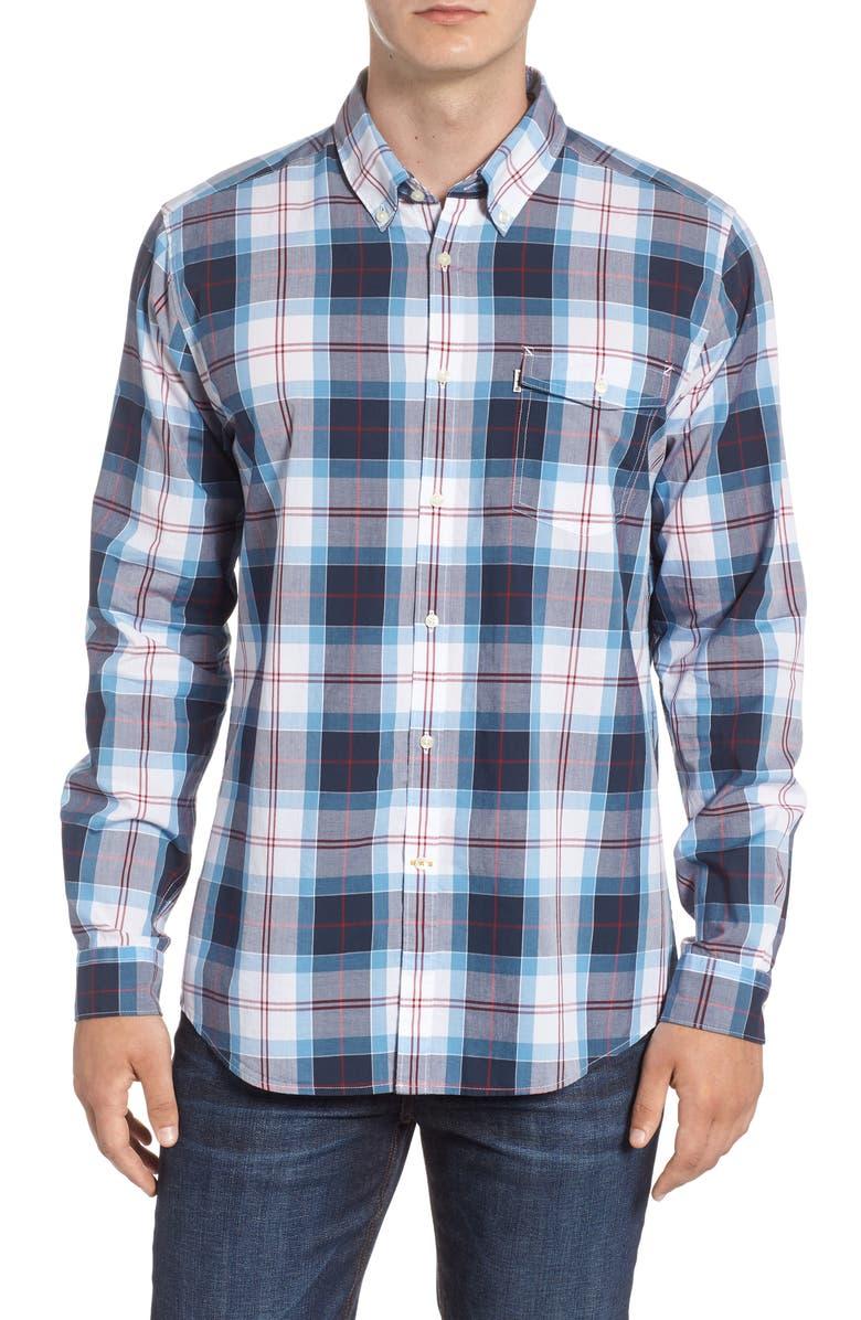 BARBOUR Cabin Tailored Fit Plaid Sport Shirt, Main, color, MID BLUE