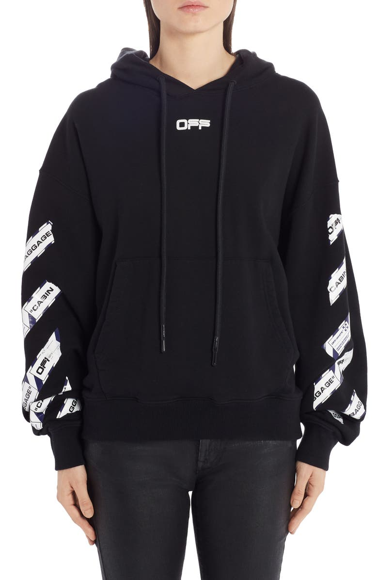 OFF-WHITE Airport Tape Logo Hoodie, Main, color, 001