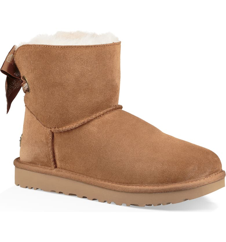 UGG<SUP>®</SUP> Customizable Bailey Bow Mini Genuine Shearling Bootie, Main, color, CHESTNUT SUEDE