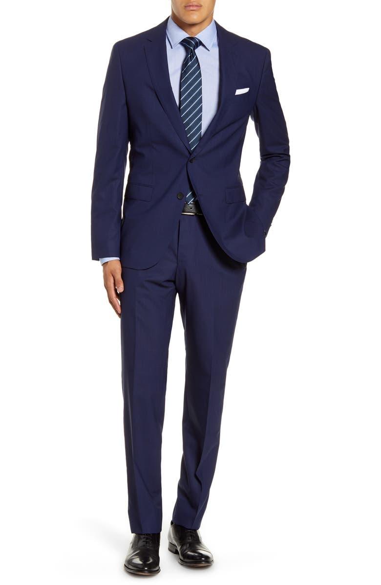BOSS Novan/Ben Trim Fit Windowpane Wool Suit, Main, color, NAVY