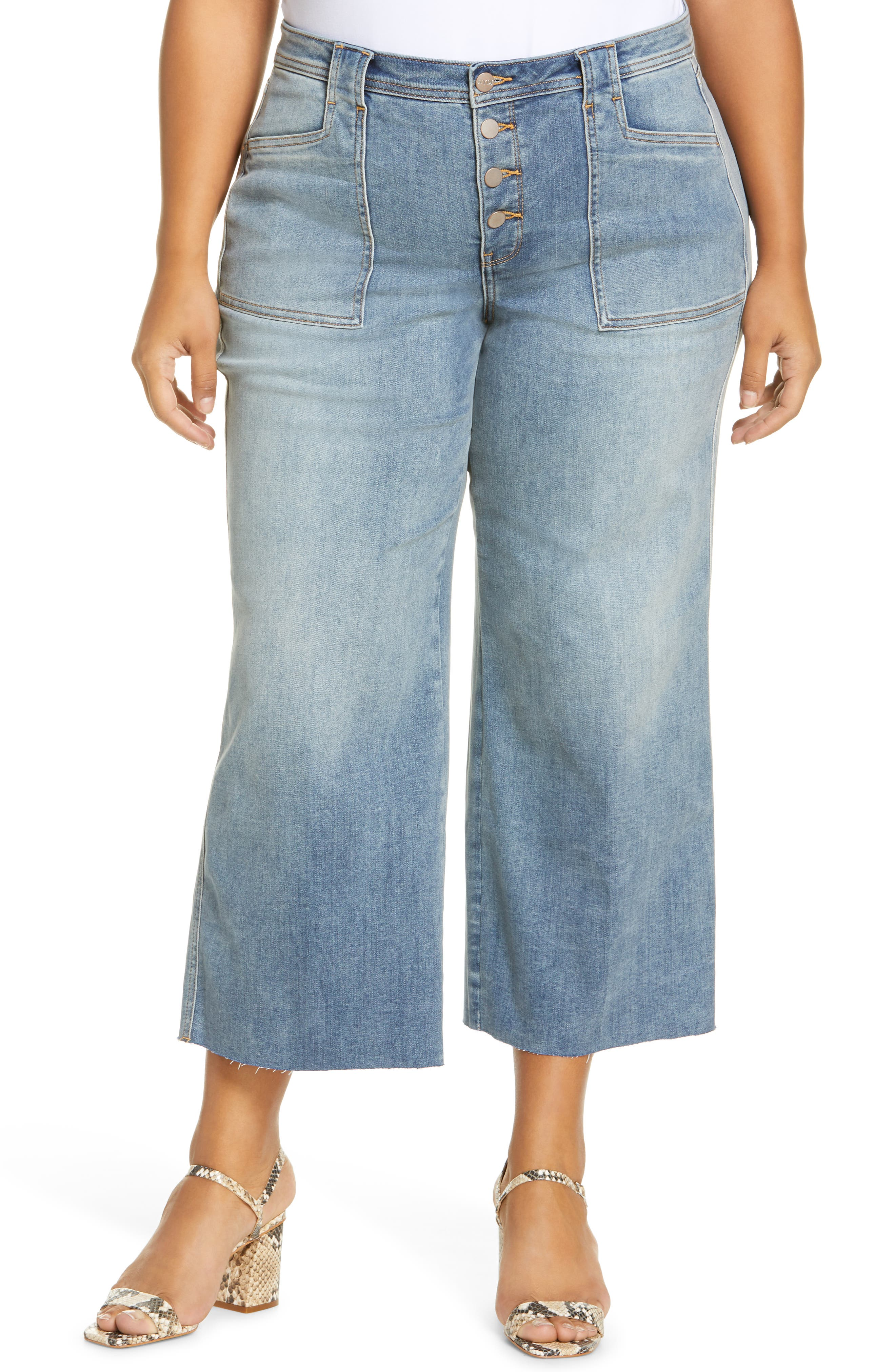 NYDJ Teresa Exposed Button Ankle Wide Leg Jeans (Clean Clayburn) (Plus Size)   Nordstrom
