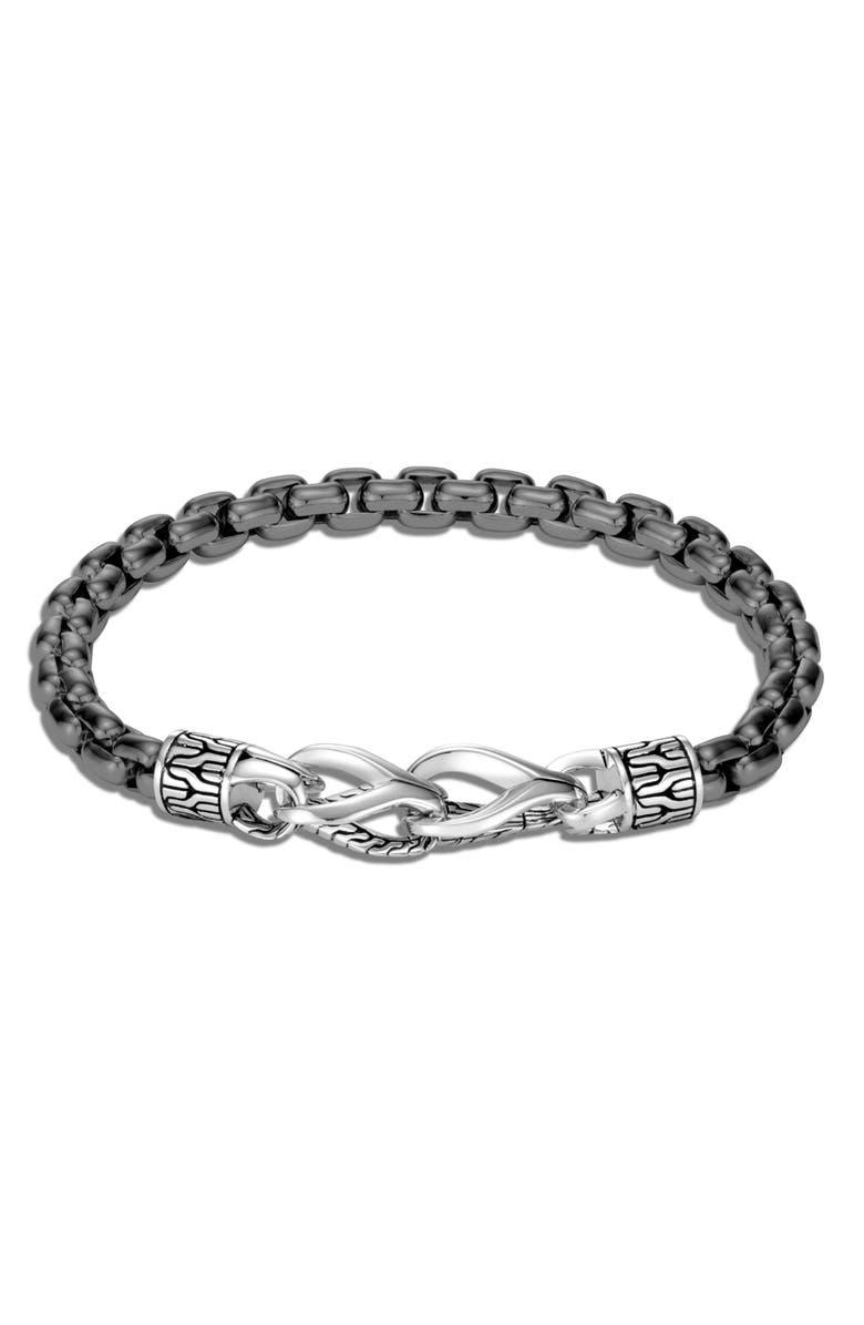 JOHN HARDY Men's Asli Classic Chain Link Bracelet, Main, color, SILVER/ BLACK RHODIUM