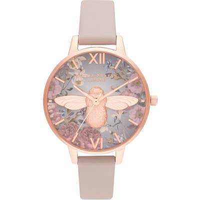 Olivia Burton British Blooms Faux Leather Strap Watch,