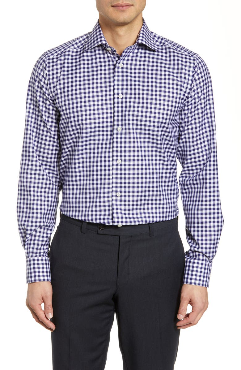 ETON Contemporary Fit Check Dress Shirt, Main, color, NAVY