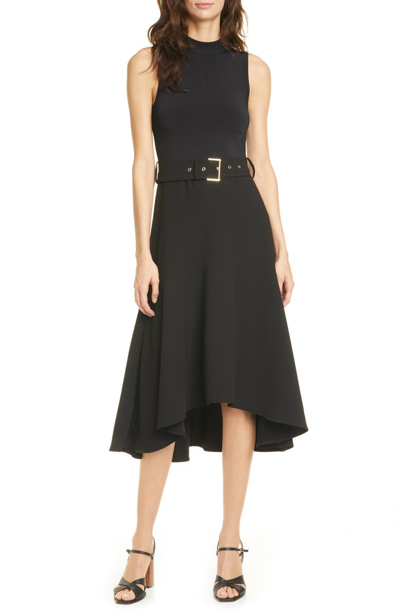 TED BAKER LONDON Corvala High/Low Dress, Main, color, 001