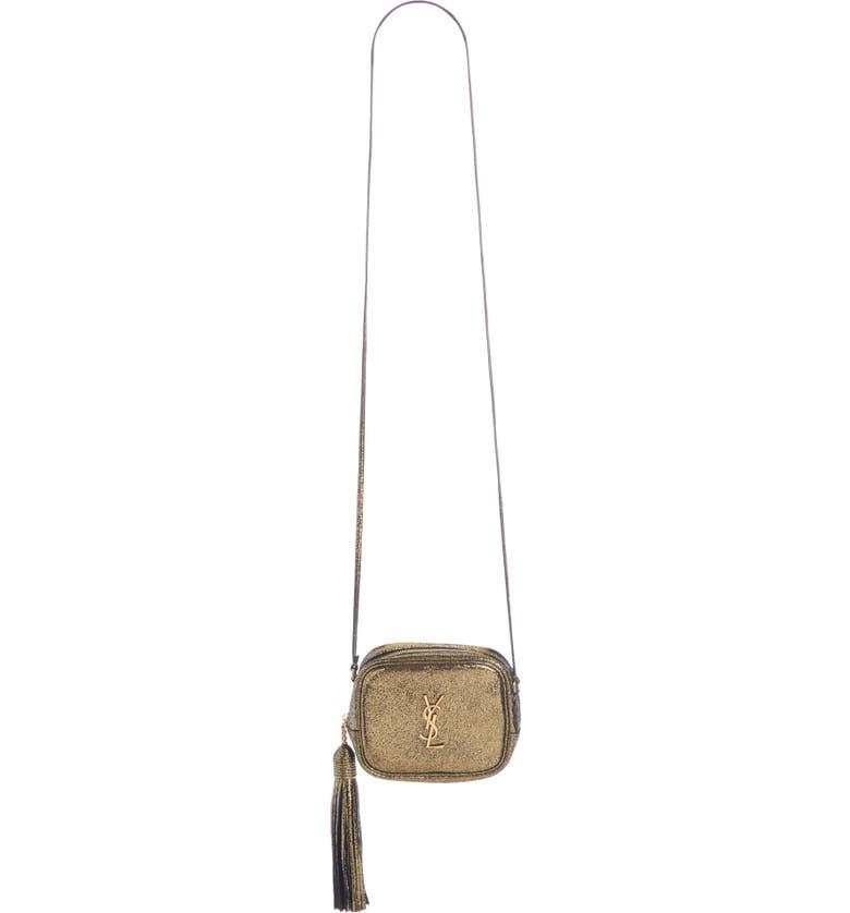 SAINT LAURENT Mini Blogger Metallic Crackled Leather Crossbody Bag, Main, color, 710