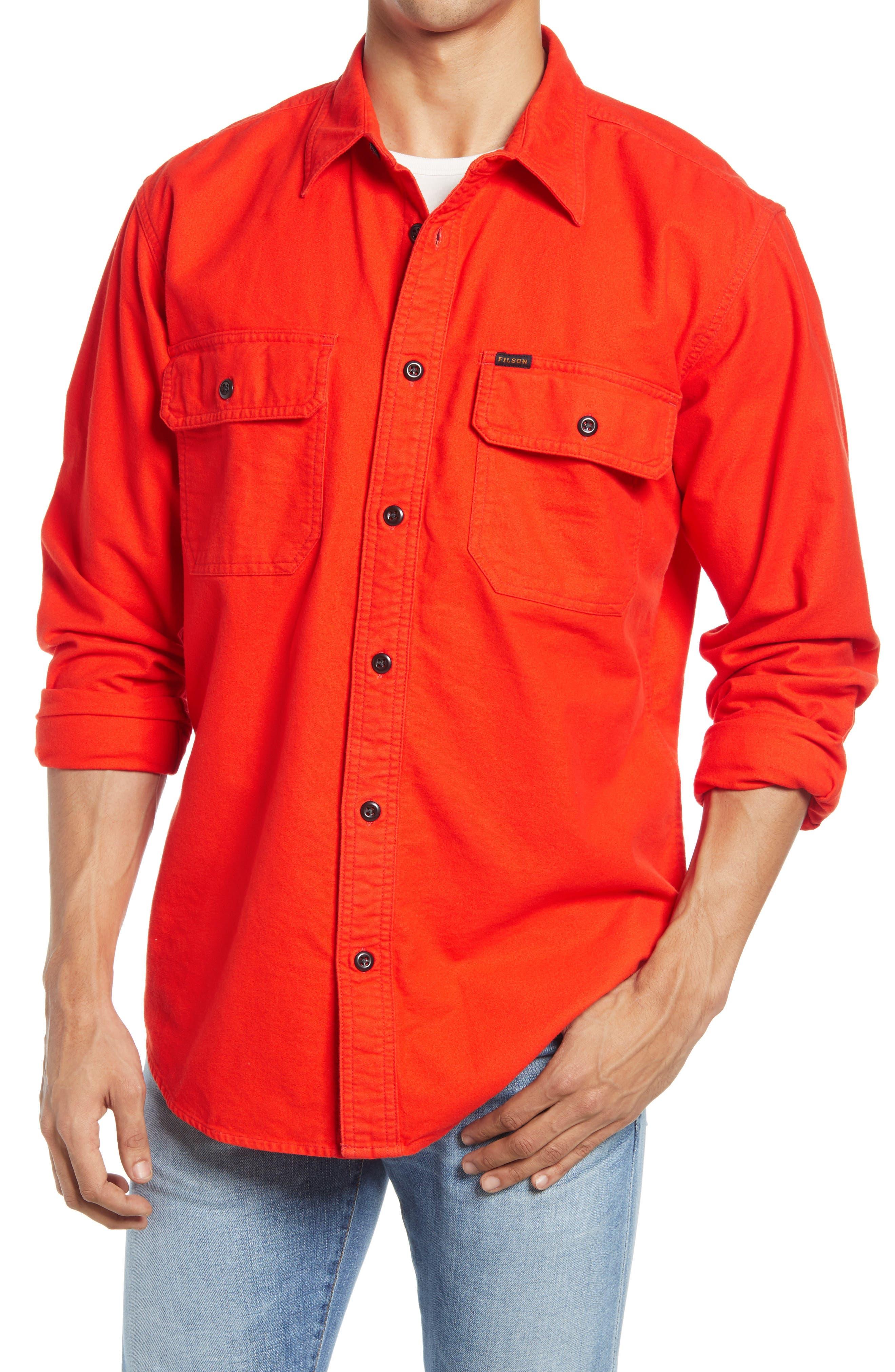 Men's Big & Tall Filson Field Solid Button-Up Flannel Shirt