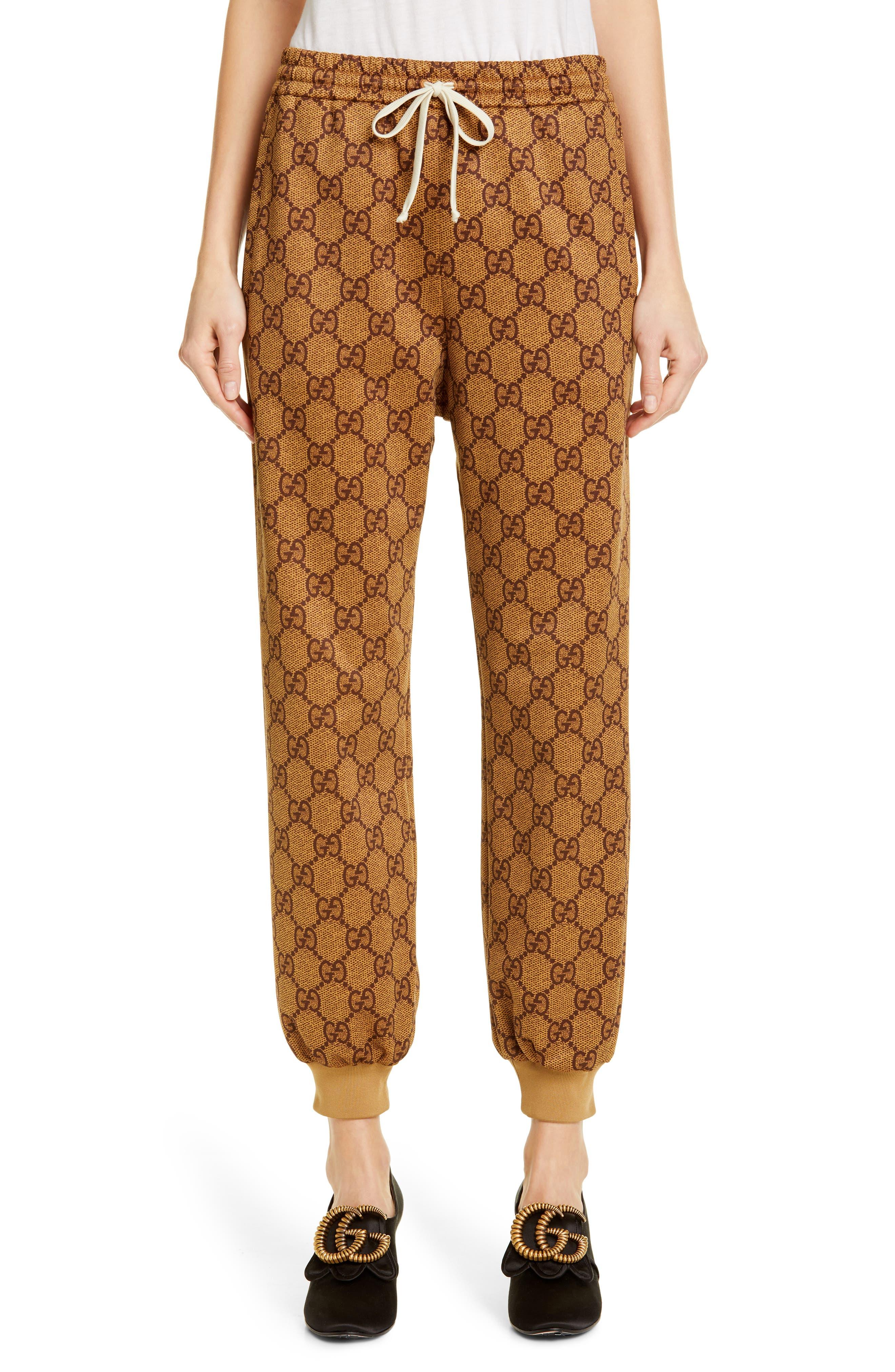 Women's Gucci Gg Print Technical Jersey Jogger Pants,  X-Small - Beige