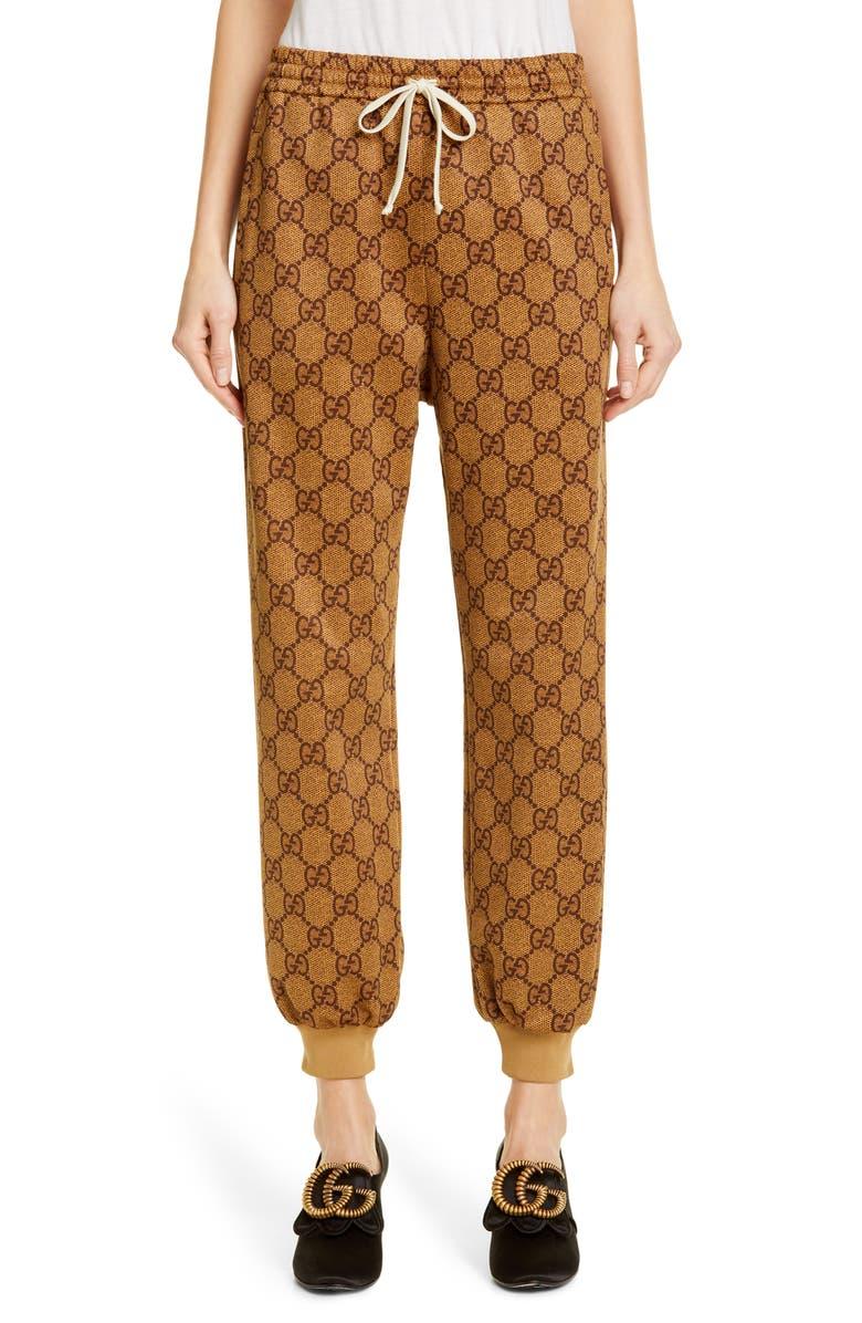 GUCCI GG Print Technical Jersey Jogger Pants, Main, color, VINTAGE CAMEL/ MULTIC