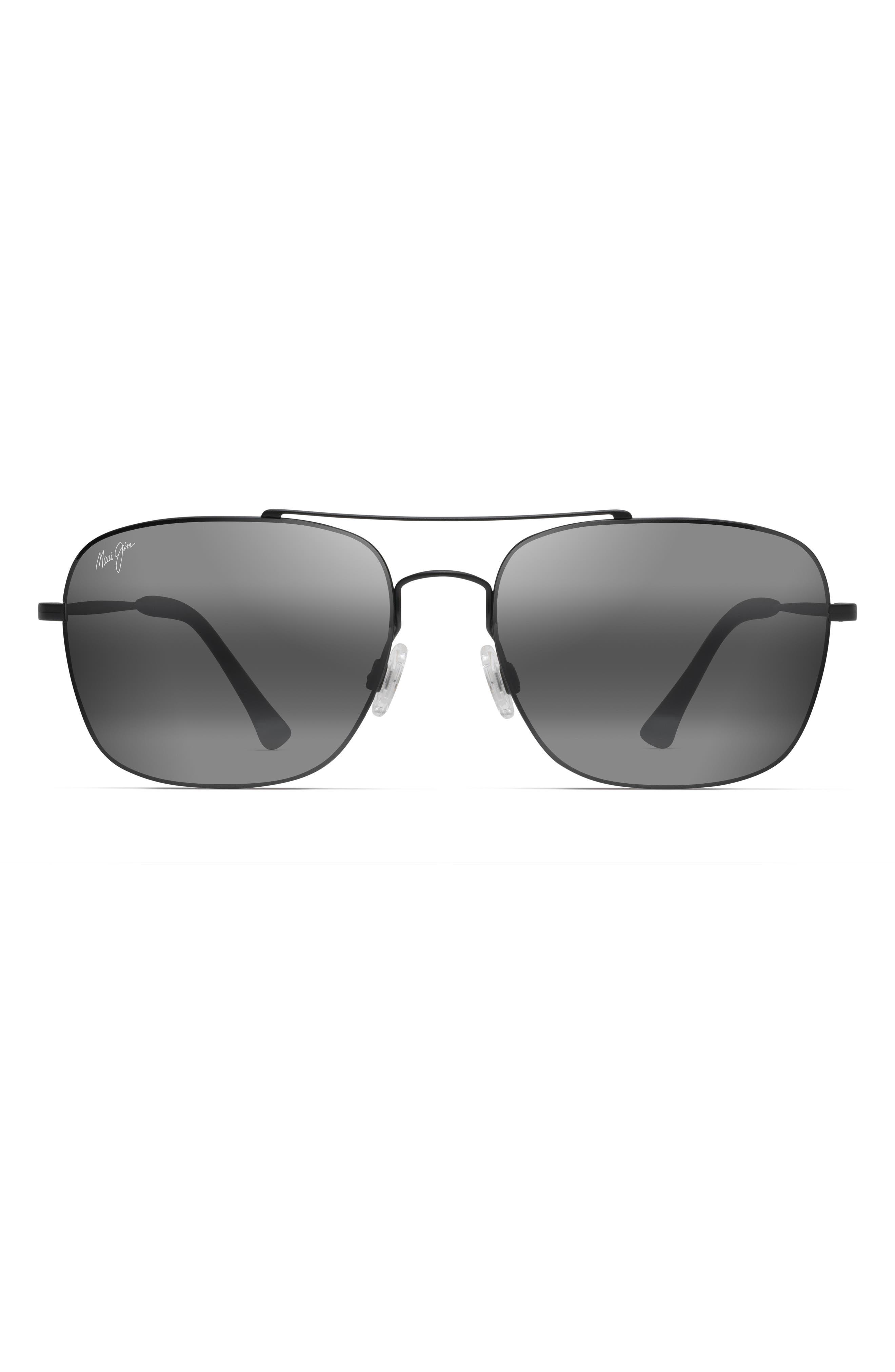 Maui Jim Lava Tube 57Mm Polarizedplus2 Aviator Sunglasses - Matte Black/neutral Grey