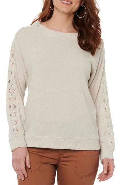 Image of Democracy Boatneck Lace Inset Sleeve Sweater
