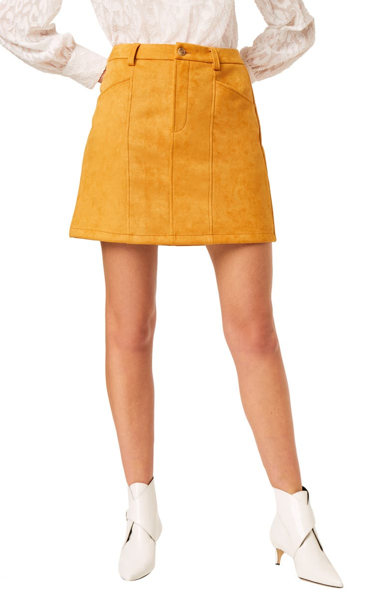 FRENCH CONNECTION Carrie Faux Suede Miniskirt, Main, color, GOLDEN OAK